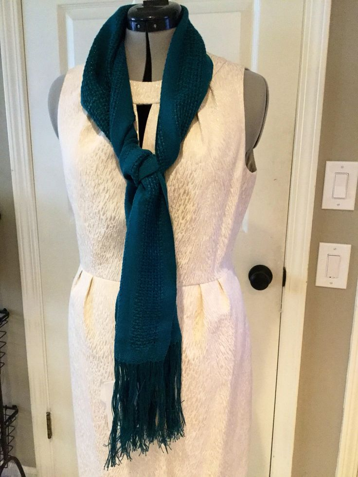 Excited to share the latest addition to my #etsy shop: Handwoven Semi-Open Weave Peacock Colored Scarf