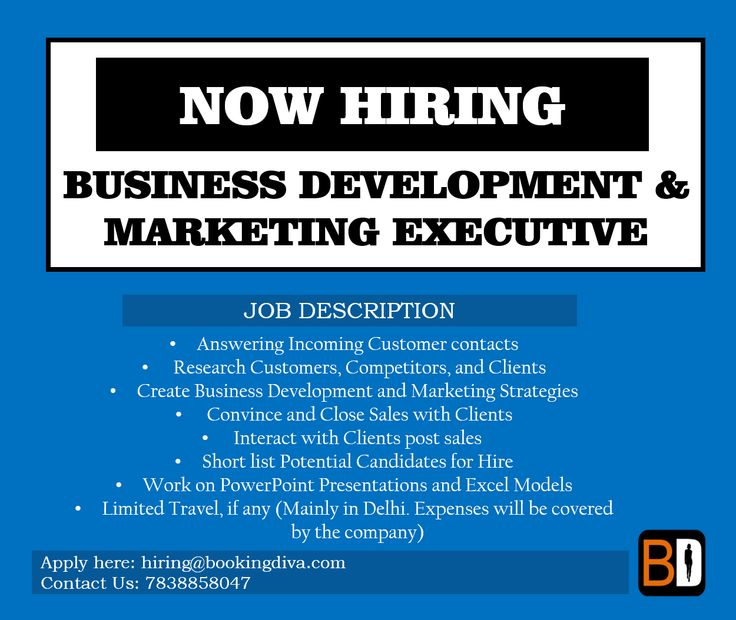 We Are Hiring! Job Role: Business Development/Marketing Executive