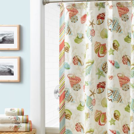 coral shower curtain hooks. Croscill Coral Beach Shower Curtain  Hit the beach with bright and cheerful This printed shower curtain features soft colorful tossed 197 best Curtains images on Pinterest