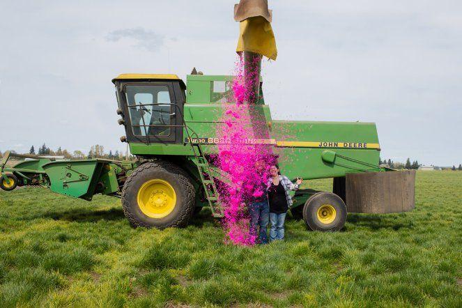 John Deere Combine Farm Gender Reveal