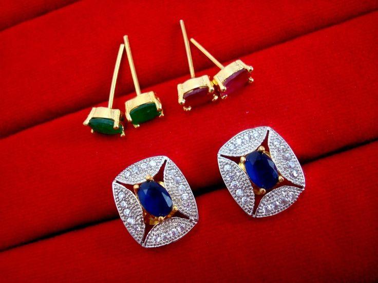 Fashionable SixInOne Changeable Zircon Earrings for Women, Best Anniversary Gift - BLUE