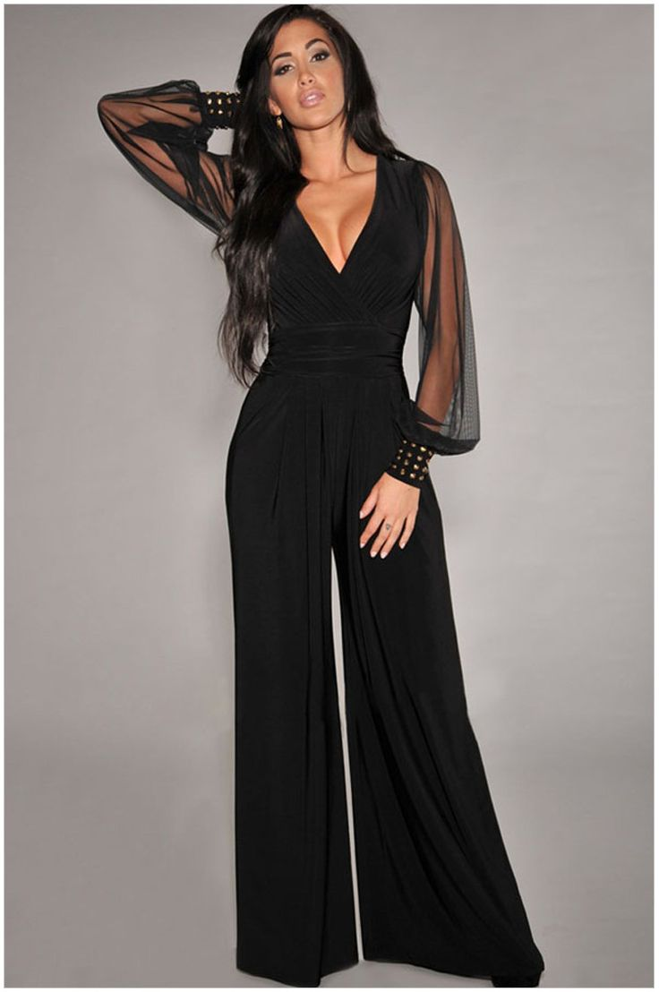 Womens Loose Jumpsuit Casual Elegant Black Chiffon Long Sleeve V Neck Outfits - Outfitsbible