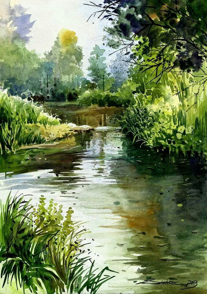Watercolor landscape forest stream river water