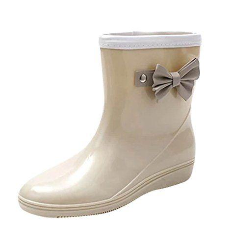 LvRao Frauen Mittel Hoch Gummischuhe Damen Gummistiefel Wasserdichte Regen Schuhe Boots Stiefel Kurz Khaki 37