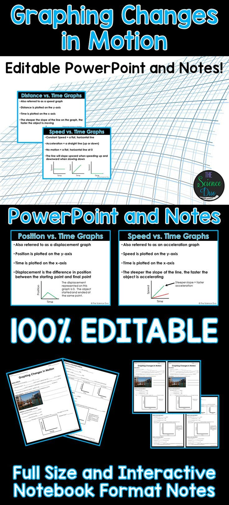 Introduce motion and graphing changes in motion with this PowerPoint presentation. This covers 3 different types of graphs with examples of constant speed, acceleration, and no motion for each type of graph. This resource includes a 15 slide PowerPoint presentation and 2 versions of the student notes pages.