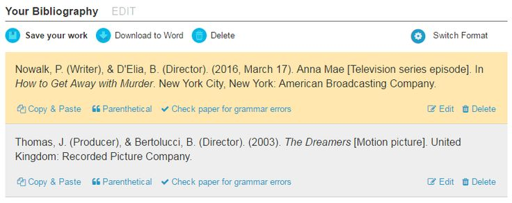 APA citations of The Dreamers (film) and How to Get Away with Murder (tv show). Made on bibme.org