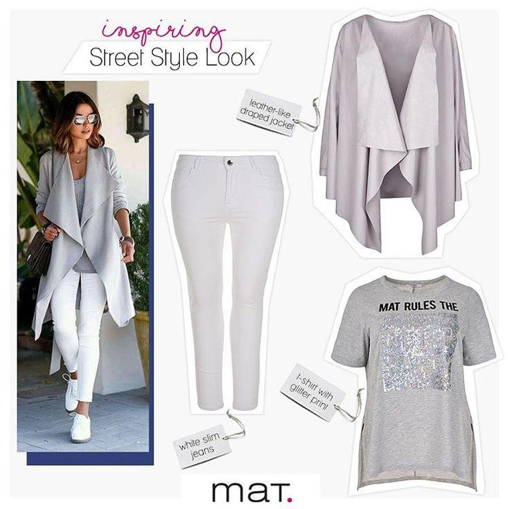 Το ιδανικό ανοιξιάτικο look για laid back αλλά ταυτόχρονα κομψό στυλ! Ανακάλυψε το γκρι leather-like jacket ➲ code: 671.4046 Ανακάλυψε το λευκό τζιν παντελόνι σε slim γραμμή ➲ code: 672.2022 Ανακάλυψε την γκρι μπλούζα με glitter print ➲ code: 671.1331 #matfashion #ootd #fashion #streetstyle #inspiration #lovematfashion #plussizefashion