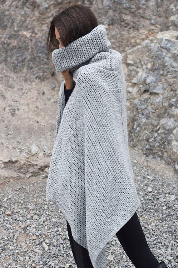Nieuwe collectie licht grijze hoge kraag gebreide Poncho / extravagante brei algemeen / brei warme Top wol / Oversized Top door AAKASHA A08366
