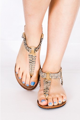 Nude T strep sandals