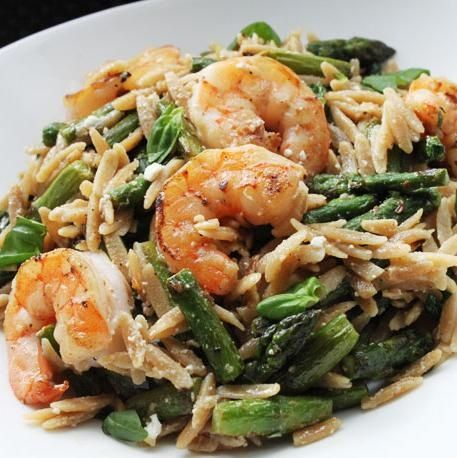 Skillet Shrimp with Orzo, Asparagus, and Feta.