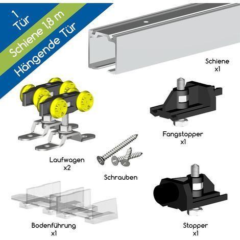 Schiebetürbeschlag HERKULES 60 - Schienenlänge 1,80 m bis 3,00m - Beschläge für 1 Schiebetür bis 60 kg - su61/180 - Eisenwaren