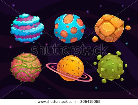 Set of cartoon fantasy planet on space background - stock vector