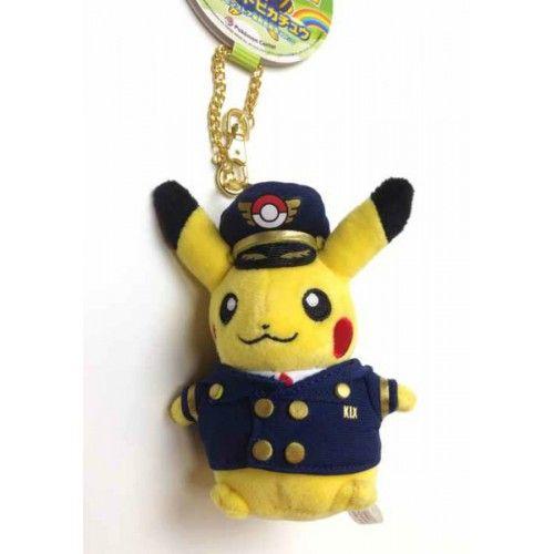 Pokemon Store Osaka Kansai Airport 2014 Pilot Pikachu Plush Keychain