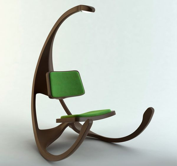 Futuristic rocking chair by matthias koehler illustrator for Industrial design chair