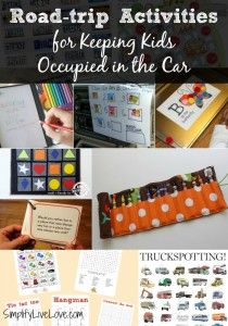 Road trip Activities for Kids. Check out these great ideas for keeping kids occupied in the car. Some are quick to put together and some take a little more time to prepare, but all will help your kids enjoy a long car ride without the use of electronics.