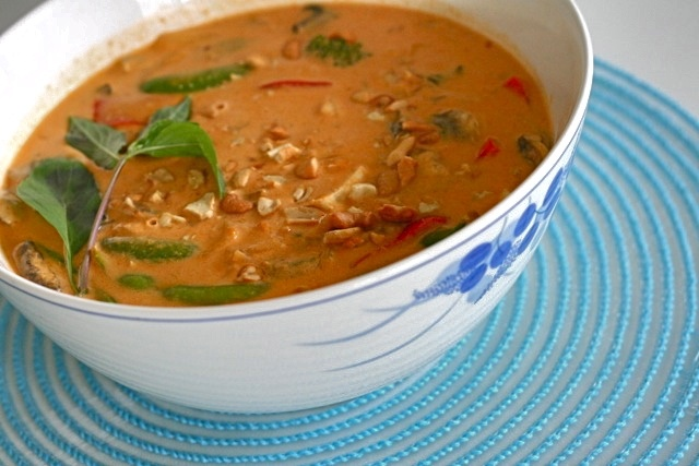 panang curry, sounds good and would be a good way to try tofu out with the family.  Need to find the right curry paste.