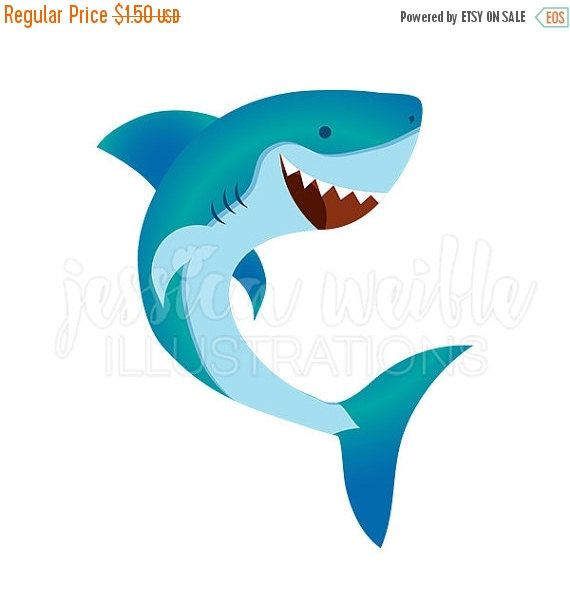 SALE Happy Shark Cute Digital Clipart Cute by JWIllustrations
