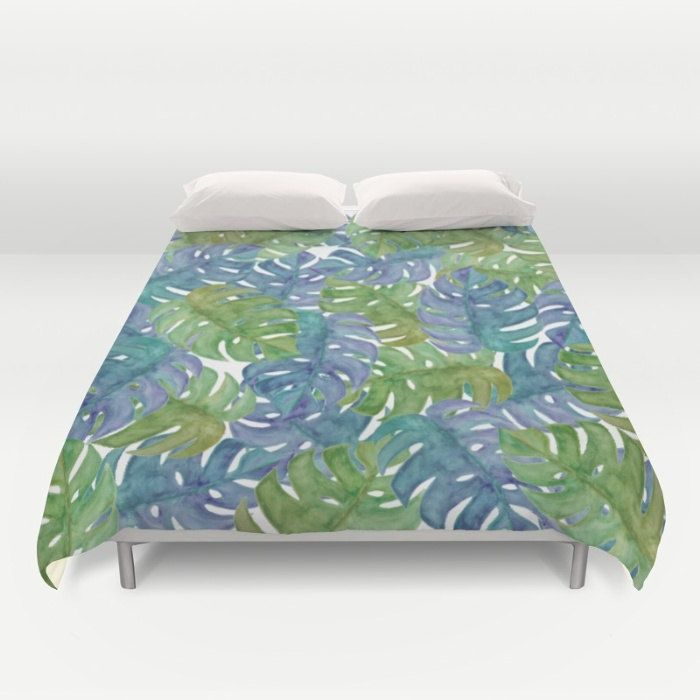 Tropical Duvet Cover, Full Queen King, Watercolor Duvet, Leaf Pattern, Blue Duvet Cover Green Bed Cover, Floral Comforter, Tropical Glam Bed by OlaHolaHolaBaby on Etsy