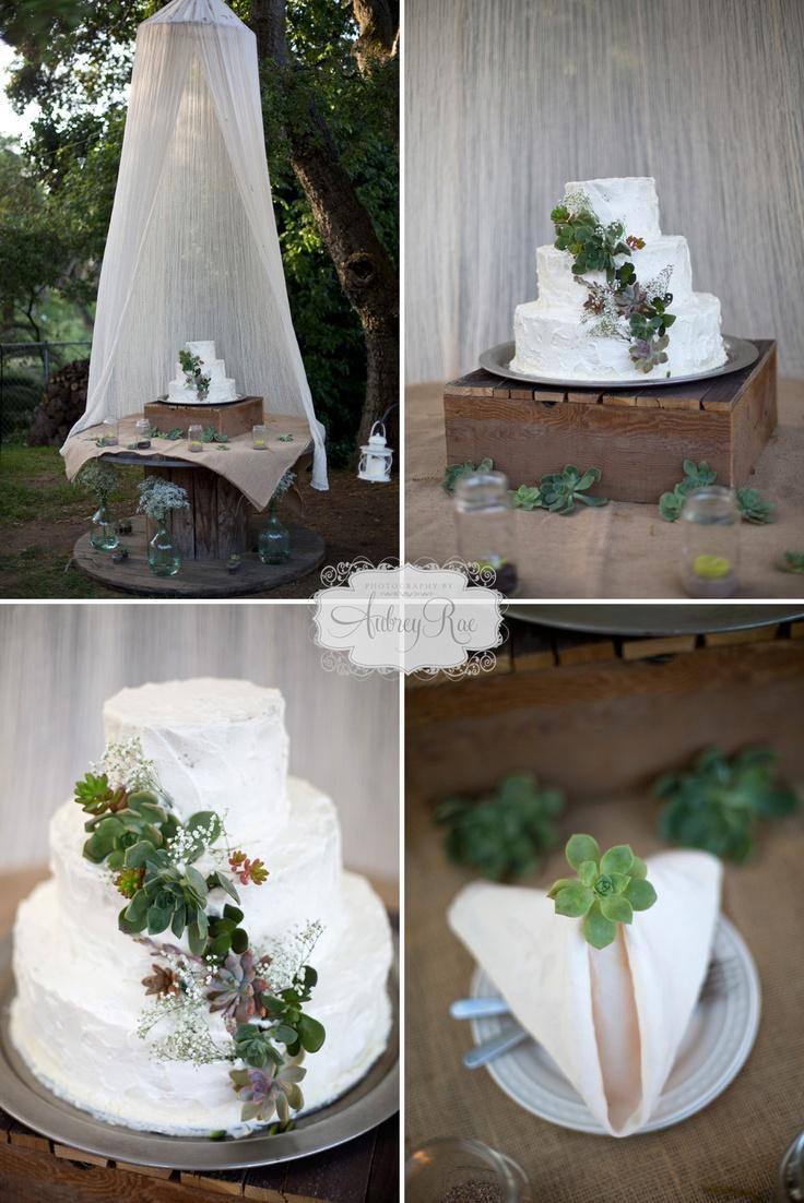 succulent cake rustic wedding decor flowers succulents