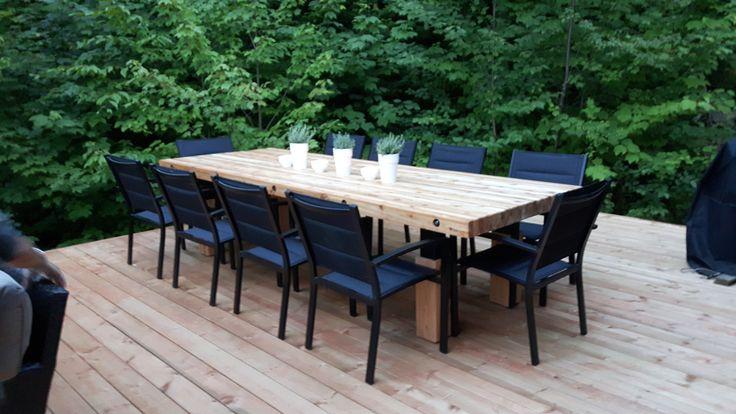 Table Émotion, Cèdre et Acier, 42'' x 120''