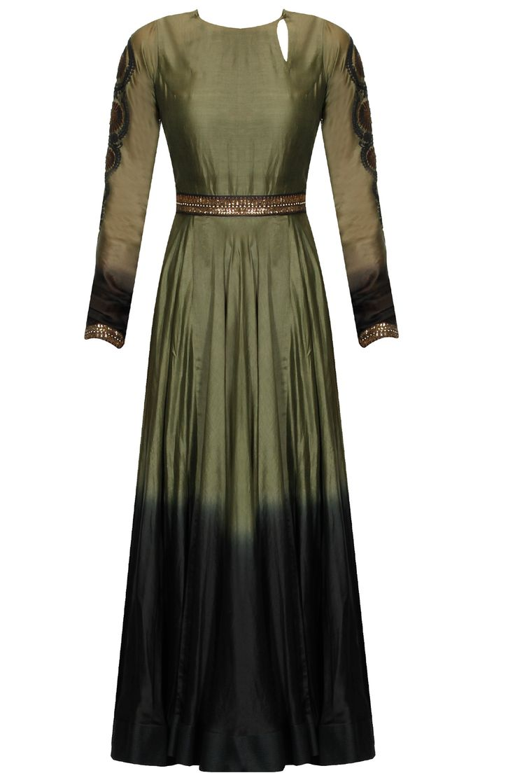 Olive green and black ombre embroidered anarkali set available only at Pernia's Pop Up Shop.