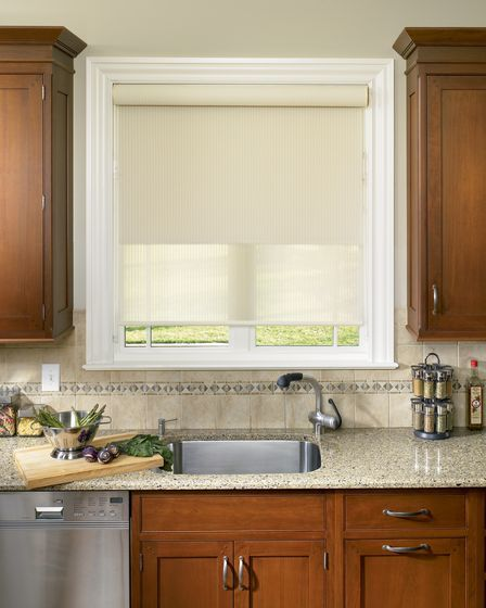 Designer Roller Shades With Continuous Cord Loop For Kitchen Sink Window