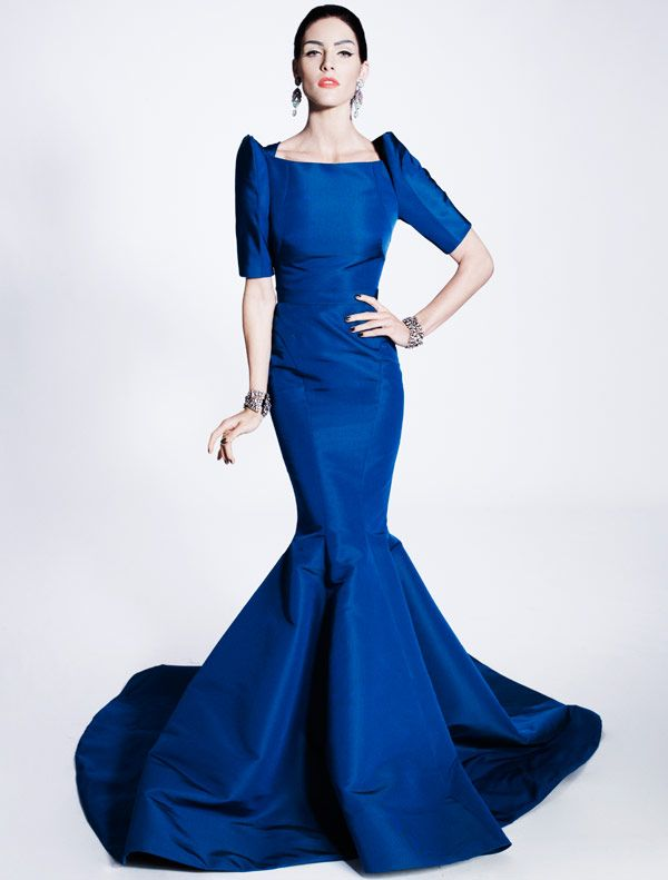 Zac Posen, evening gown, sapphire blue/ Not really my style, but the sleeves remind me of traditional Filipiniana formal wear.