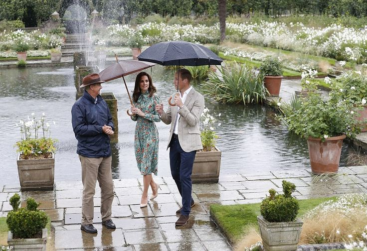 William, Kate, and Harry at Diana's White Garden, Kensington Palace August 2017