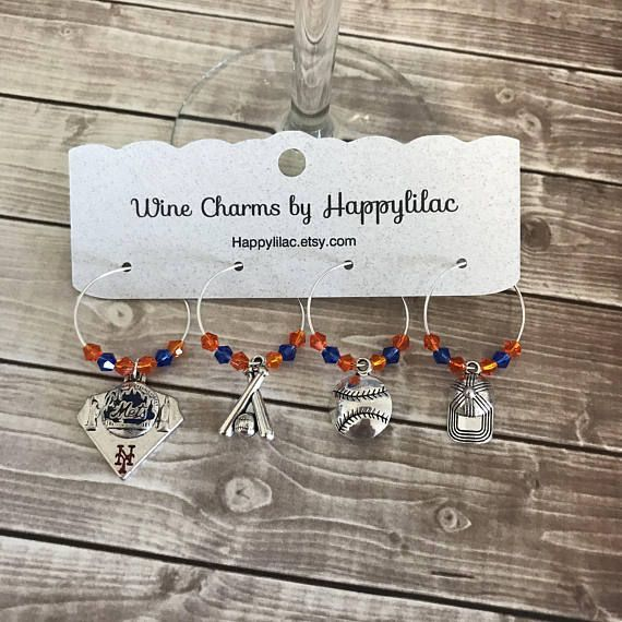 Baseball Wine Charms, Mets, Baseball, Wine Charms, Beer Charm, Wine Glass ID, Birthday Gift, New York Mets, New York, Mets Baseball, Barware, Wine Charms by Happylilac