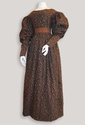 Day dress of roller-and block-printed cotton, ca. 1830, American.
