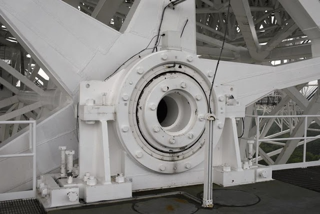bearing at the end of elevation axle of giant radio telescope at Green Bank