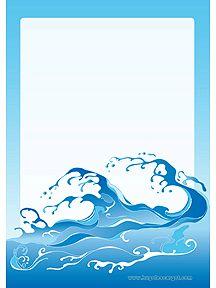 A imprimer, un papier à lettre bleu avec des vagues agitées