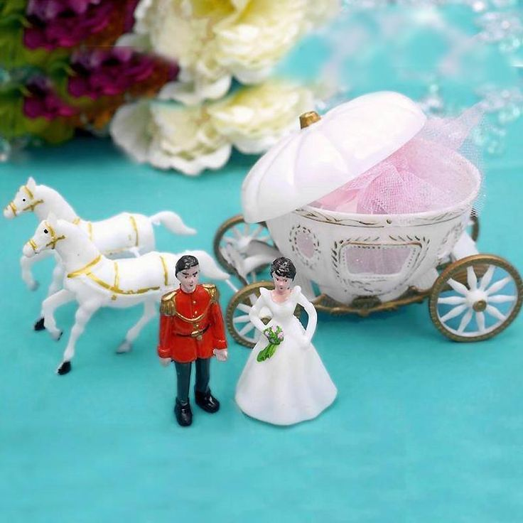 Cinderella Large Carriage | eFavorMart / Want to build a fairy-tale theme in your wedding reception? What other than magical Cinderella fairy-tale with enough romance and magic in it. Let your imagination run wild, decorate this finely coach with your wedding theme color lace, ribbons, organza, satin, flowers, vines, or anything you could ever think of. Impress your guests with this elegant Cinderella carriage & horse. The carriage opens up for you to fill with candies. Can be decorated for…