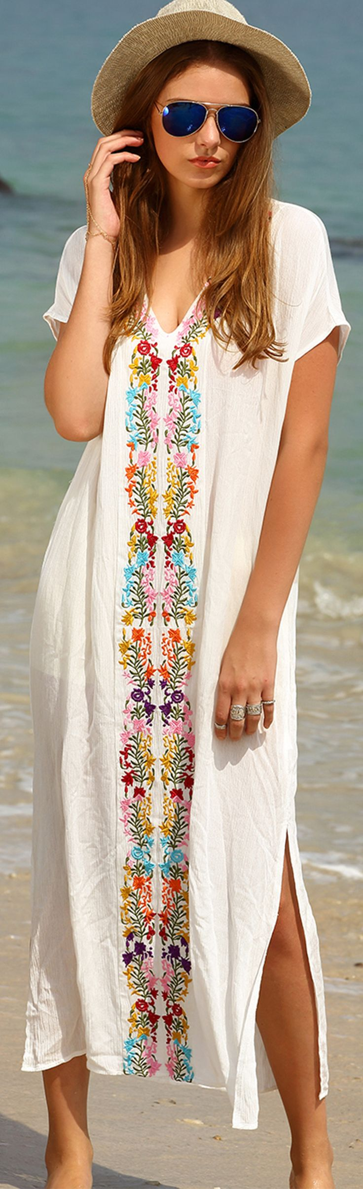 Soft and flowey beach dress embroidery is just as for Dress shirt monogram placement