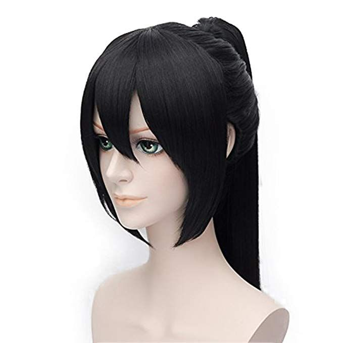 Alacos Long Straight Stylish Ponytail Black Anime Cosplay Party Wig Wig Cap Stylish Ponytail Wigs Cosplay Wigs