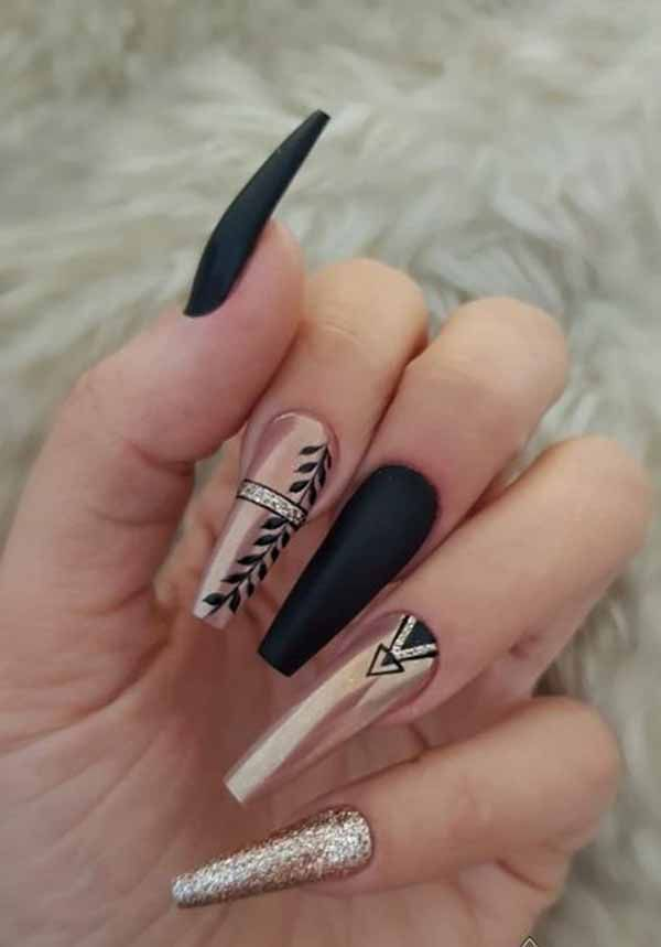 10 Gorgeous Black Nail Designs With Diamonds for 2019 : Check it out! #longnails…   – ndrr343434