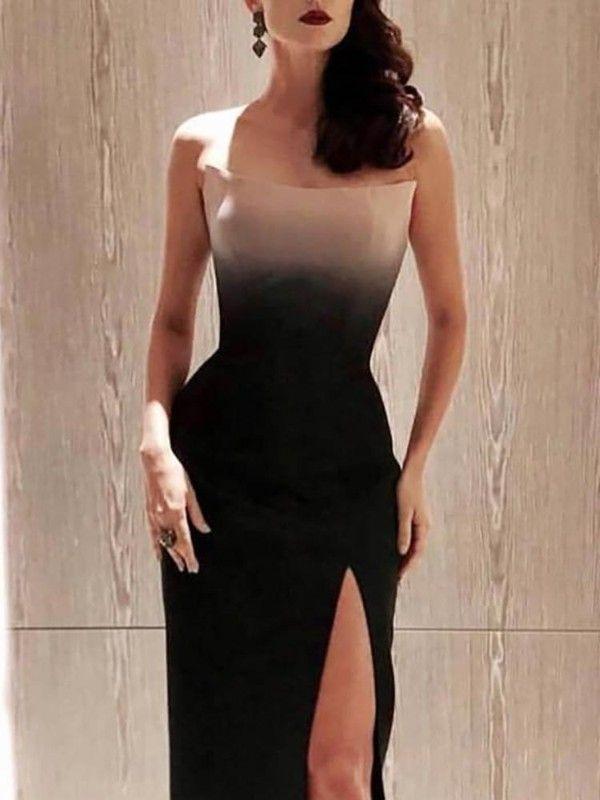 92e61a656a Strapless Gradient Color Thigh Slit Evening Dress