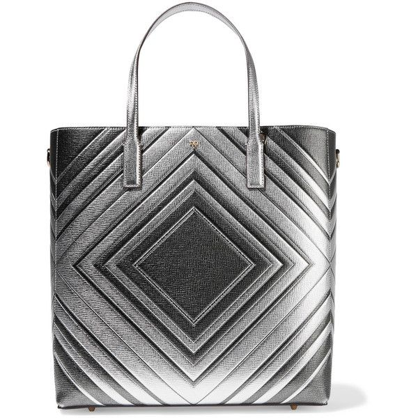 Anya Hindmarch - Ebury Embossed Metallic Textured-leather Tote ($875) ❤ liked on Polyvore featuring bags, handbags, tote bags, silver, anya hindmarch handbags, metallic tote handbags, heart purse, handbags totes and tote bag purse