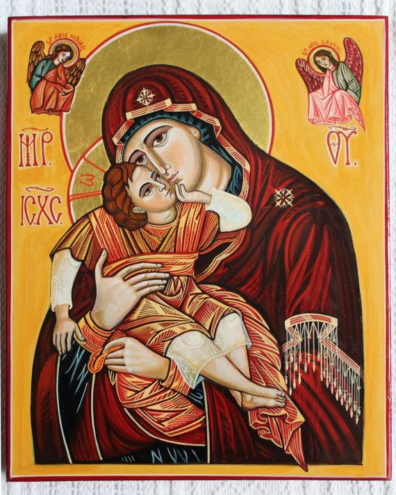 Title: Mother Of God with Child. Byzantine icon handmade painted. Orthodox icon Greek icon Russian icon. Available.