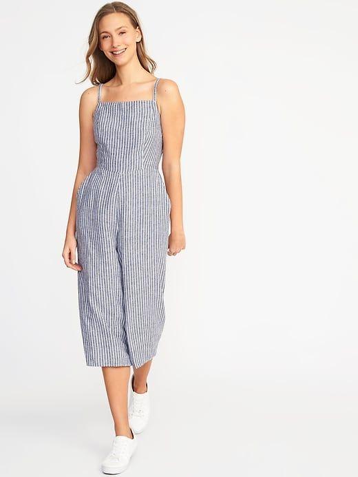 59df44577ce079 Sleeveless Striped Linen-Blend Jumpsuit for Women