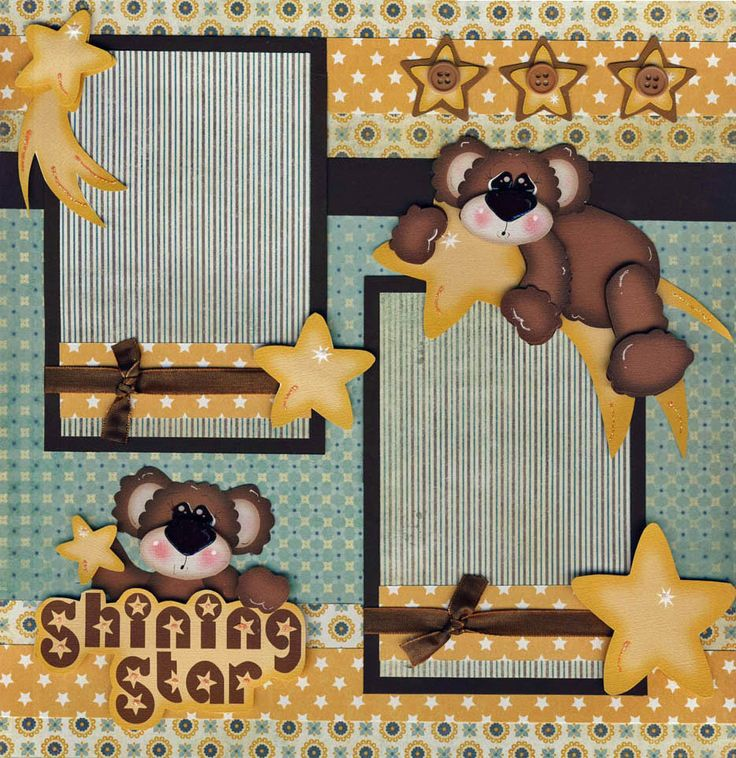 SHINING STAR~ 2 premade scrapbook pages 12x12 BY CHERRY scrapbooking BABY CUTE!! | eBay