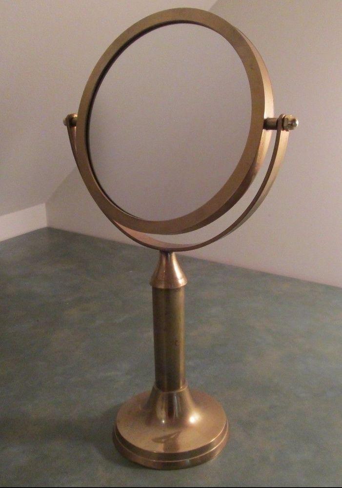 Vintage round brass vanity mirror tilt stand table top for Mirror stand