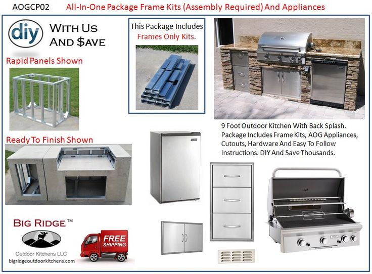 Complete Outdoor Kitchen!! AOGCP02 Outdoor Kitchen Kit Package AOG  Appliance And Module Frame Kits