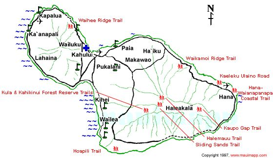 MAP OF HIKING TRAILS ON MAUI...this will come in handy!