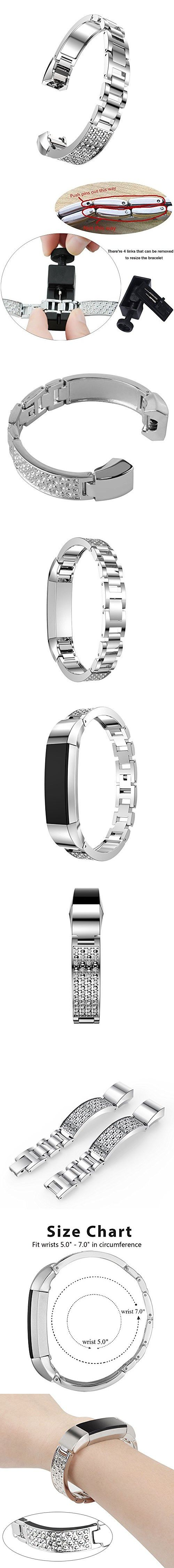 Metal Band For Fitbit Alta HR and Alta, Replacement Metal Watch Band for Fitbit Alta HR and Alta (4 Color: Rose Gold, Silver, Black, Gold)