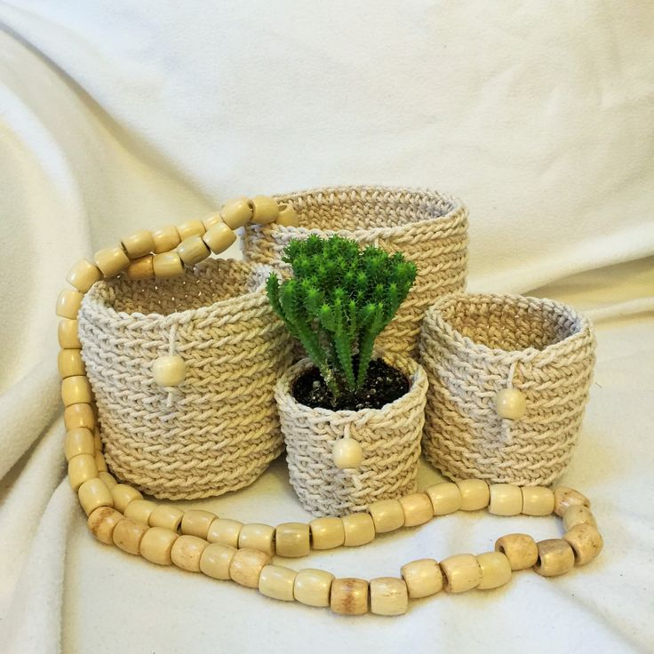 Cotton Pot Plant Holders by DollmaDesign on Etsy
