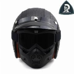 [ 20% OFF ] Women And Men Vintage Leather Open Face 3/4 Motorcycle Helmets With Goggle Face Mask Retro Scooter Helmets Casco Moto Xxl Dot