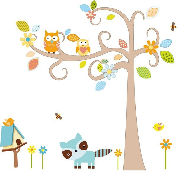 tree with racoon wall decal