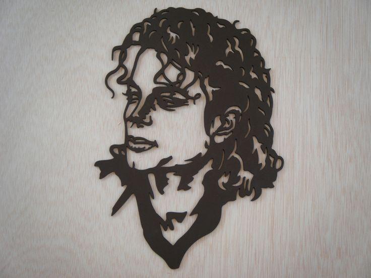Michael Jackson portrait silhouette en bois découpé  Michael  ~ Decoupe De Bois