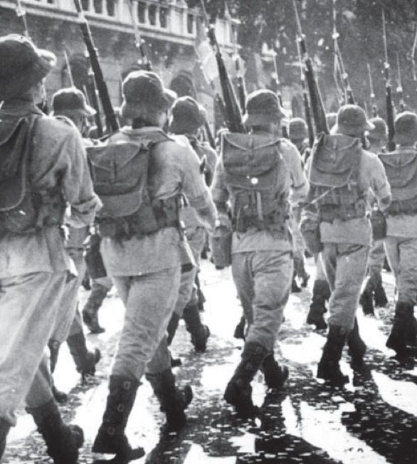 Following the declaration of war on August 22, 1942, it took Brazil over a year to raise, equip, and train their contribution to the fight in Europe. The BEF parades here in May, 1944, almost ready to sail for Europe that July. Although they are armed here with the Brazilian Mauser, they would be rearmed by the Americans upon their arrival in Italy, soldiering on with the M1903 and M1 Garand.